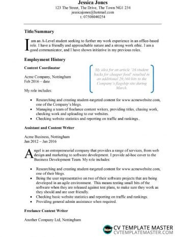 Free Example CV template in Microsoft Word