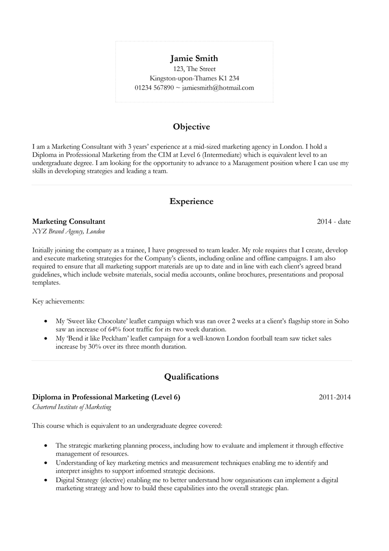 Basic CV template - page one