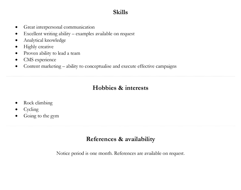 Basic CV template - page 2