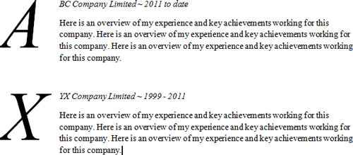 Drop caps CV template