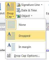 Drop caps in a CV template