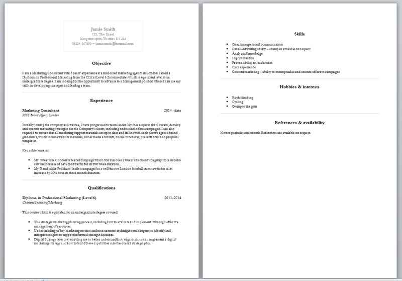 Example of CV format