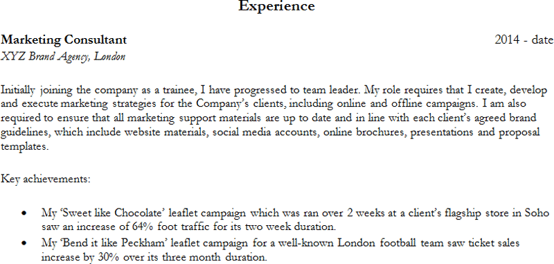 Work experience example