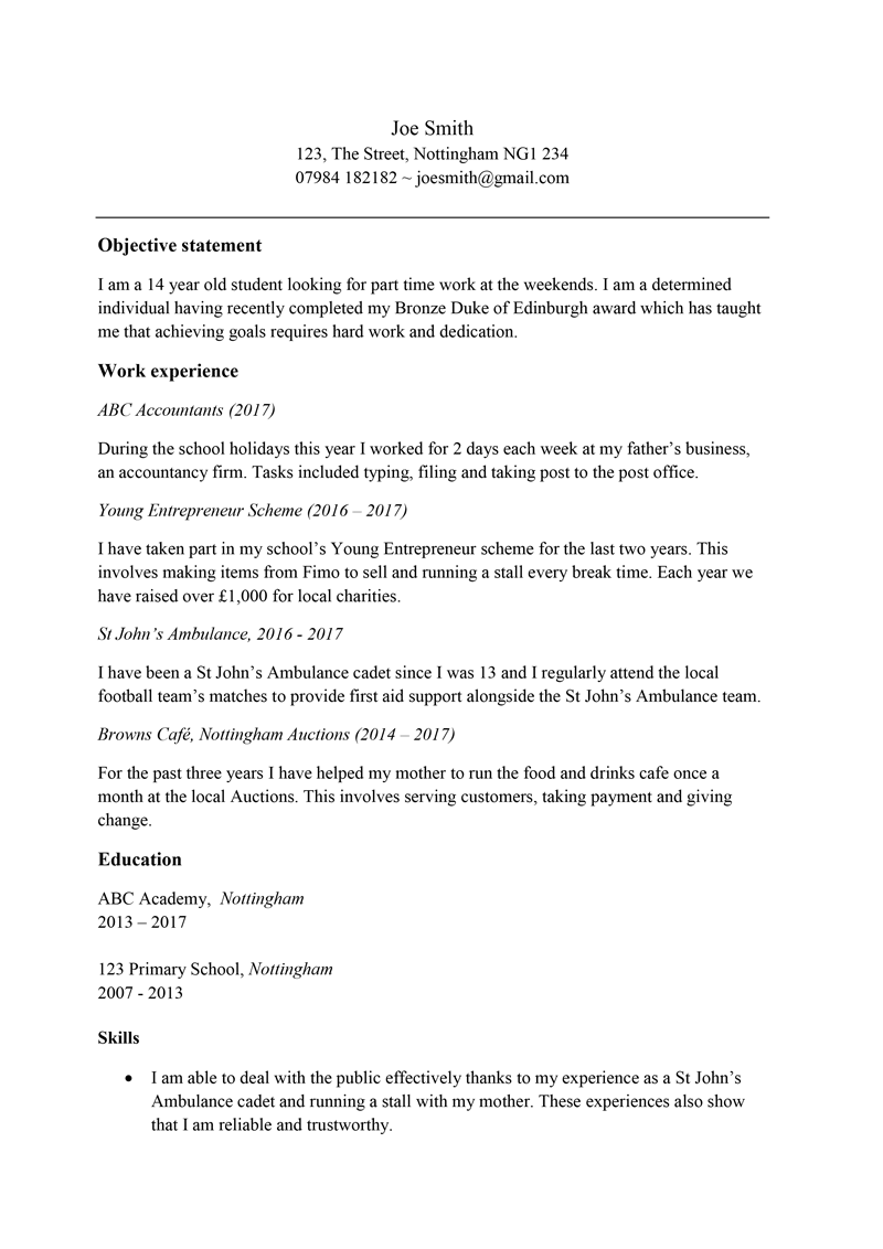 Cv For Teenager Free Cv Template For A 13 14 15 Year Old Example Content