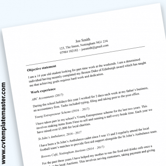 CV for teenager: free CV template for a 13, 14 or 15 year old with example content