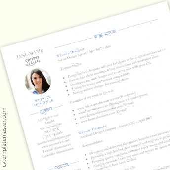 Web designer CV template : free Word download