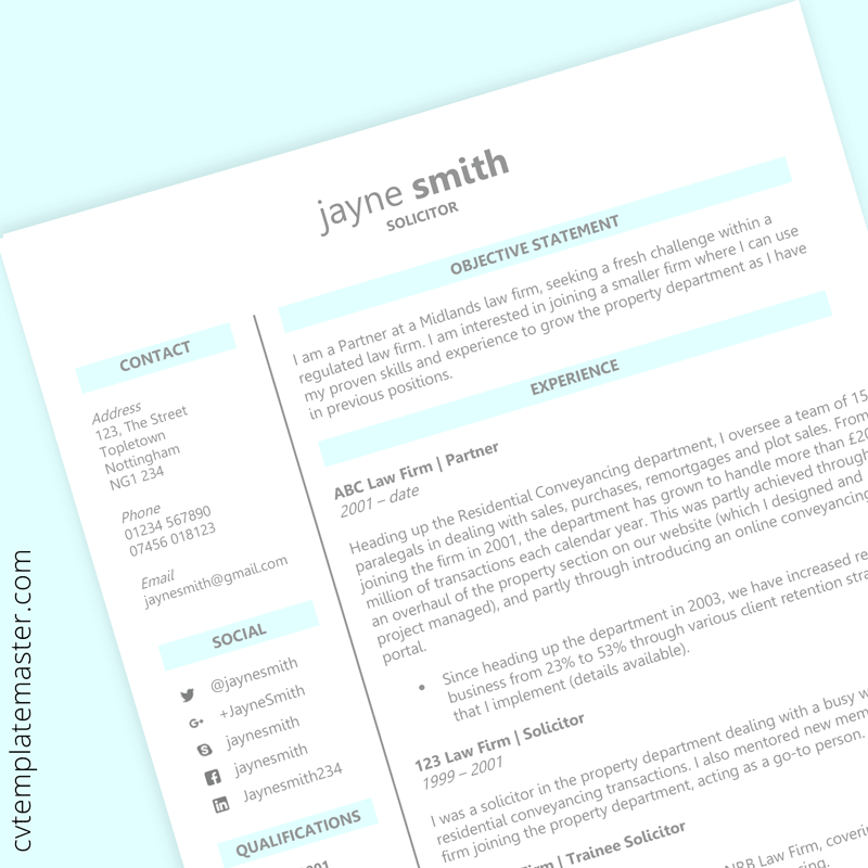 Legal CV template - preview