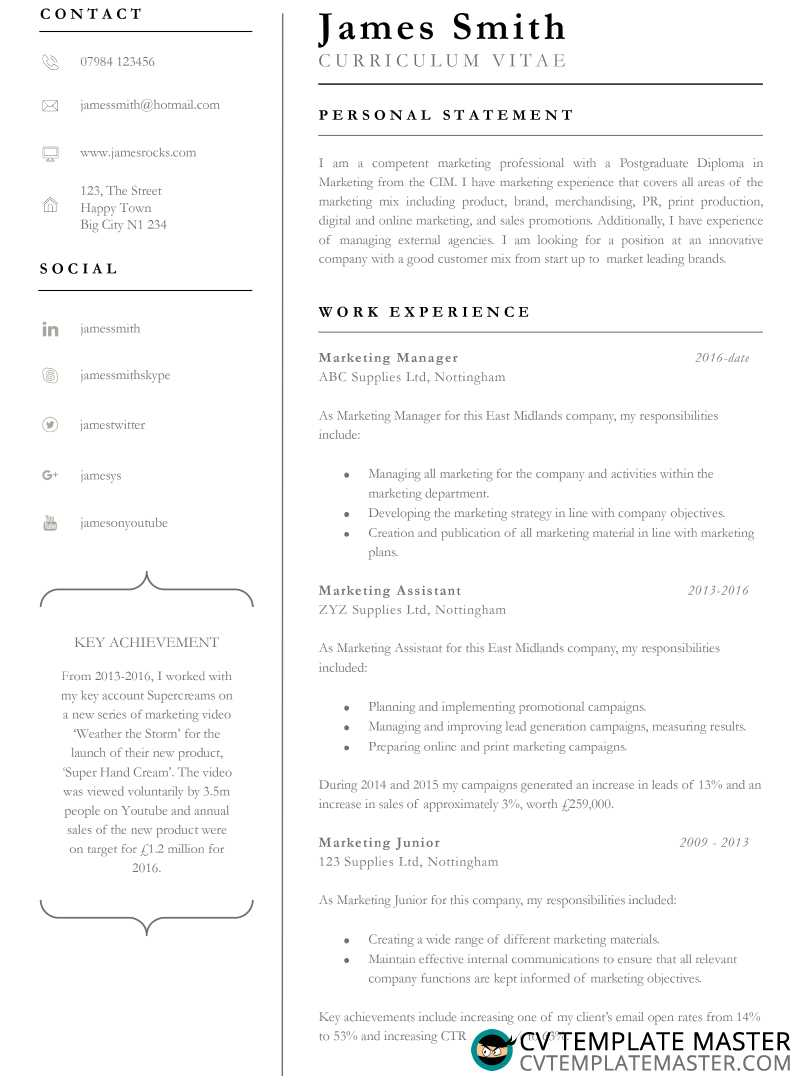 achiever free professional cv template in word