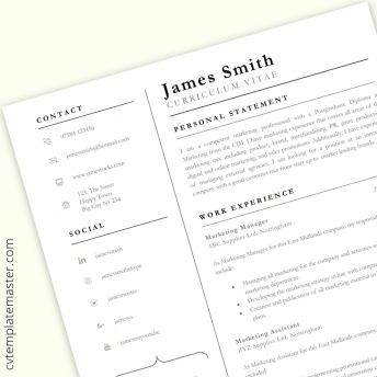 Professional CV template in Word : 'Achiever' design