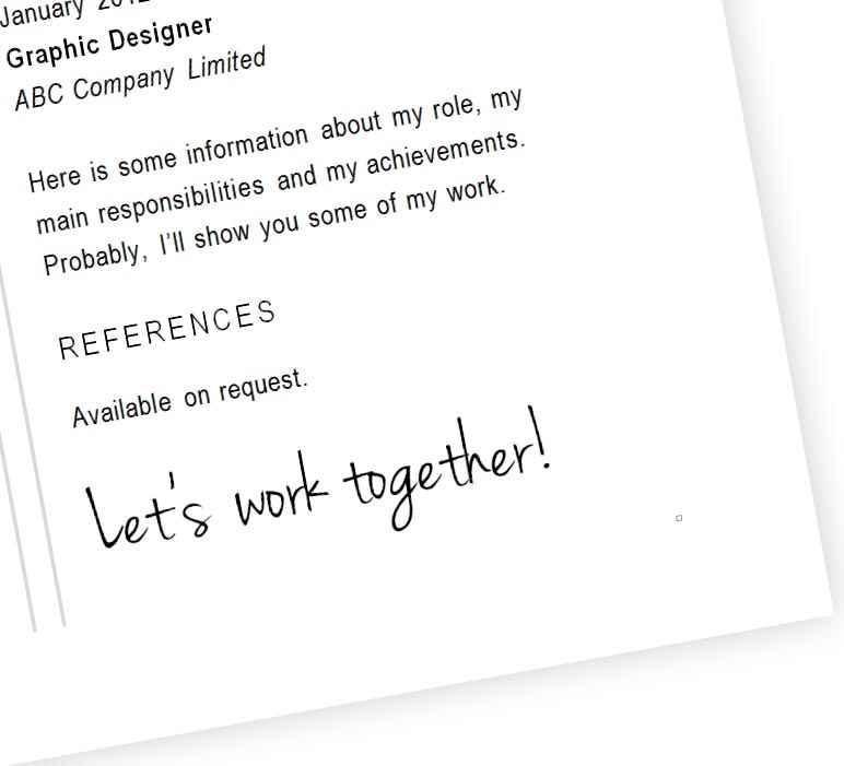 Designer CV template - footer
