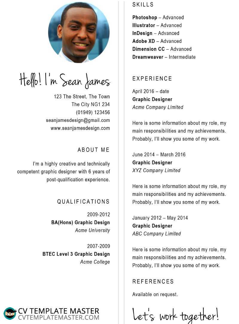 free designer cv template download for creative roles in