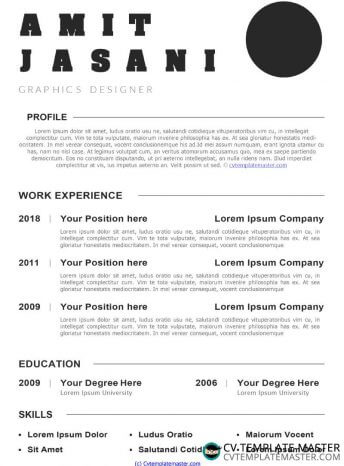 Free Minimalist CV template download in Word
