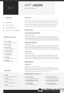 Contact Icons CV template – free Microsoft Word download