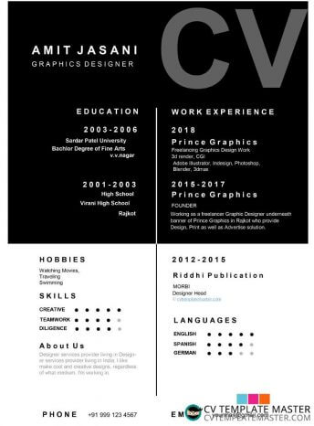 Free Microsoft Word Box detail CV template