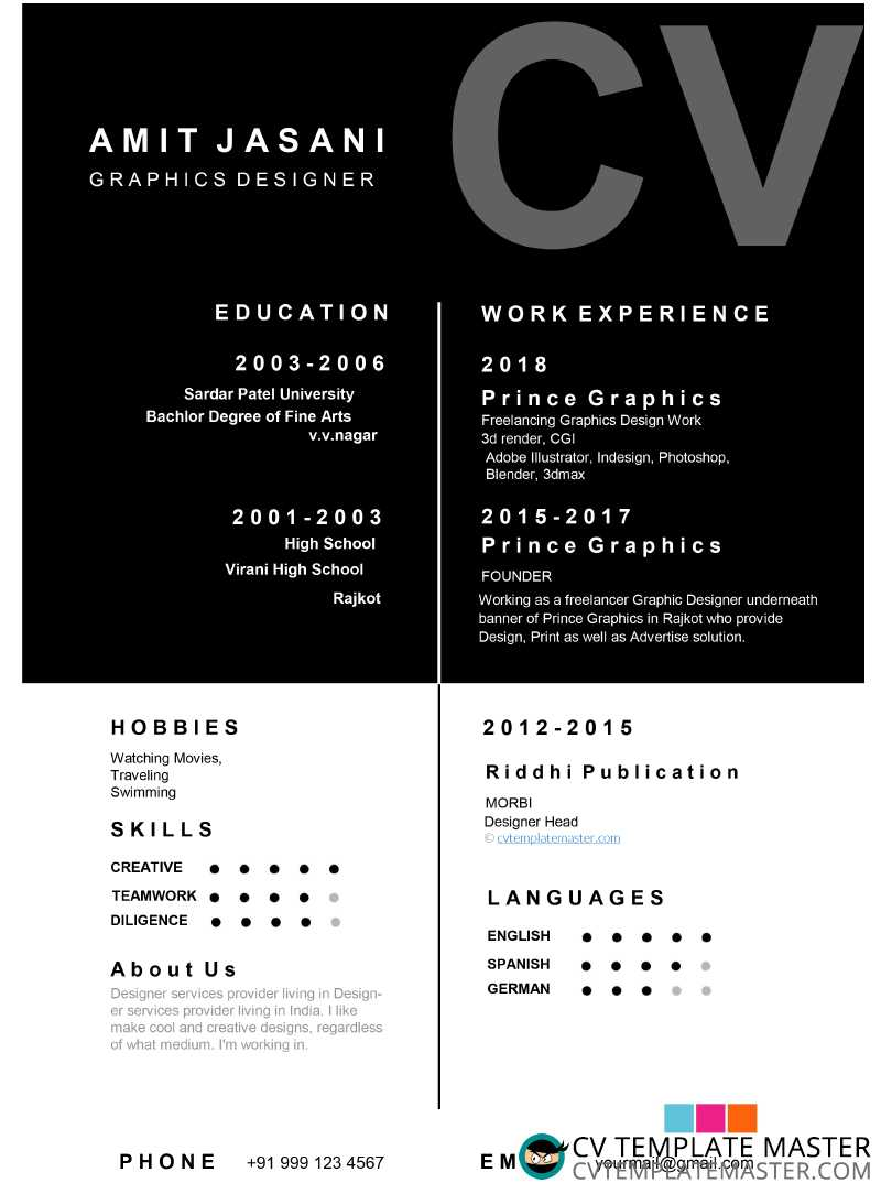 box detail cv template - free download in ms word