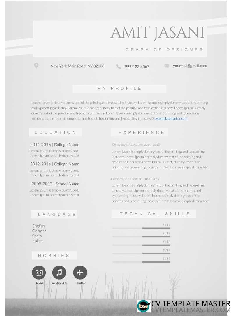 one page ms word cv template with a soft grey background  u0026 lots of detail