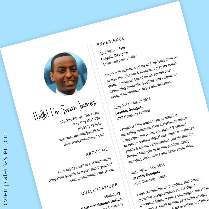 graphic designer cv template  example content