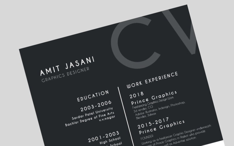 One page CV template or resume template