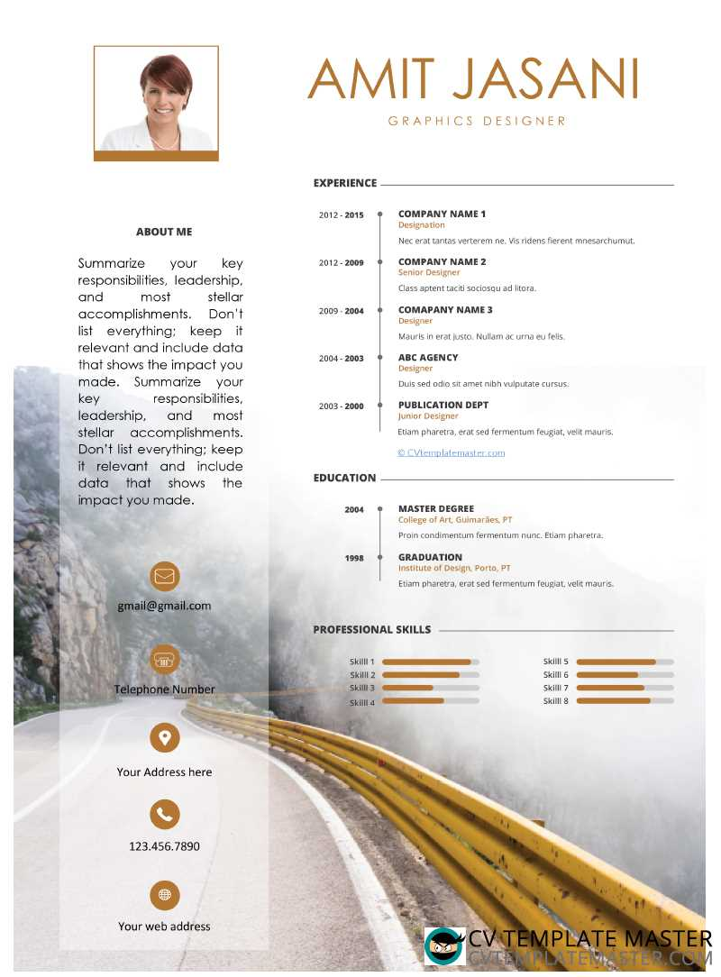 Journey Free MS Word CV template