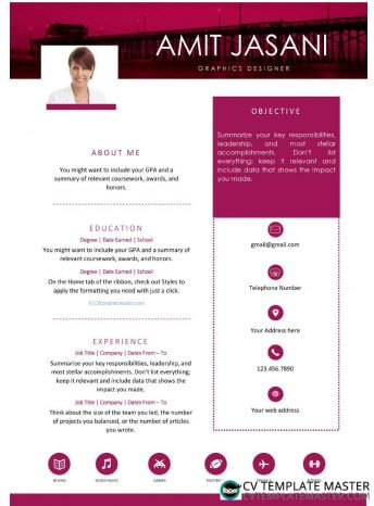 Free one-page Microsoft Word 'City Style' CV template