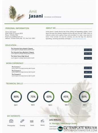 Free Take a Leaf Microsoft Word CV template