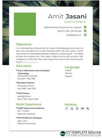 Free fresh one-page Word CV template