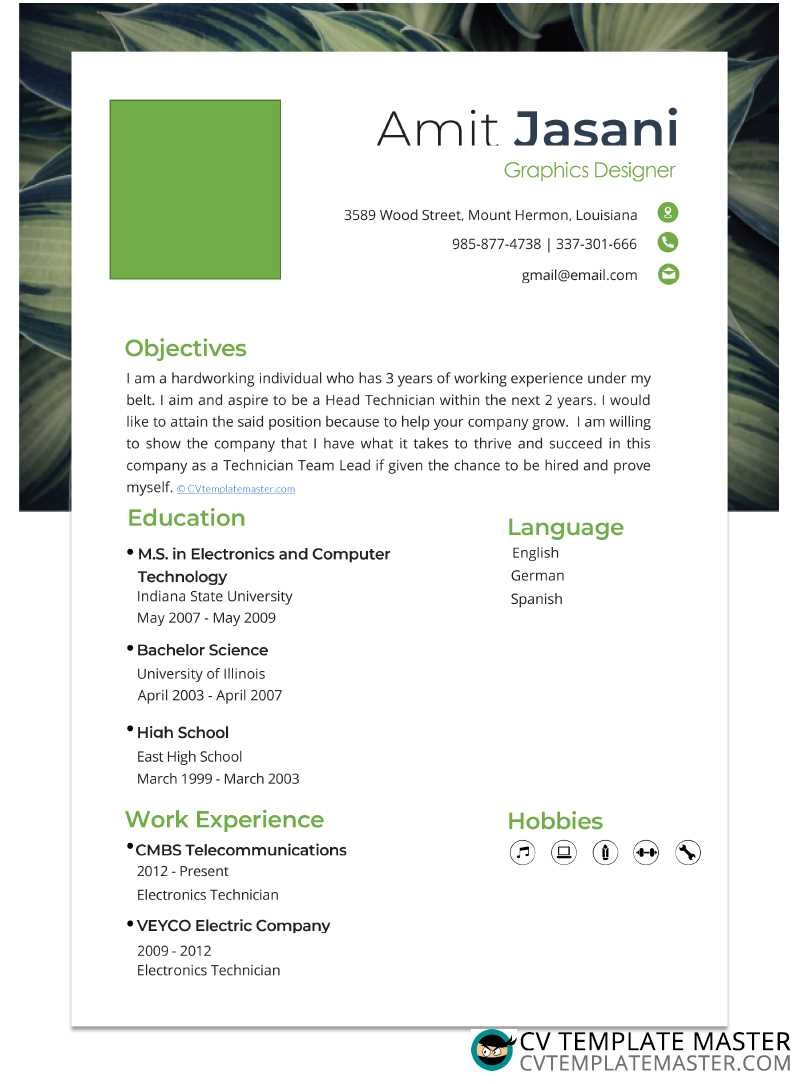 Fresh one-page CV template