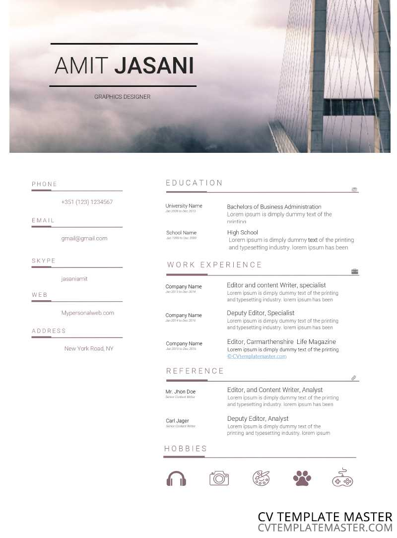 Bridges free CV template in MS Word