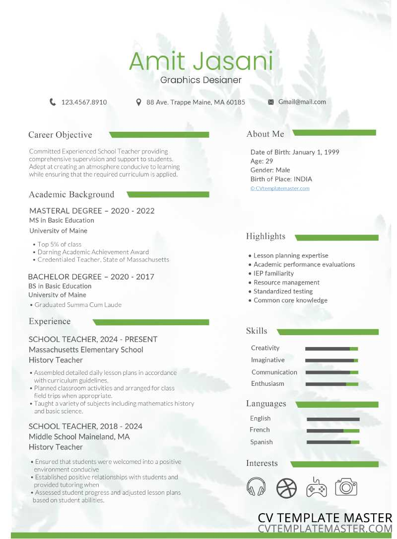 Green bar free CV template
