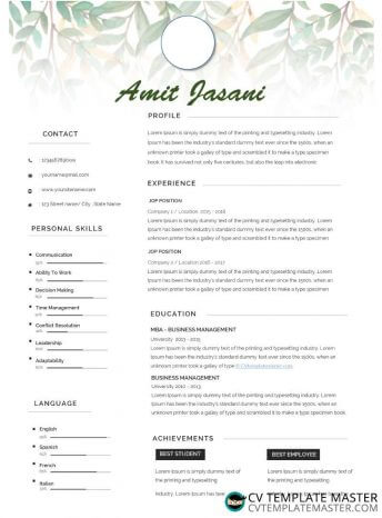Microsoft Word CV template with a leaf background and skill-level sliders