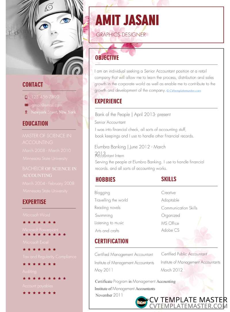 Feminine CV template with a floral background, pink highlights and a Manga profile placeholder
