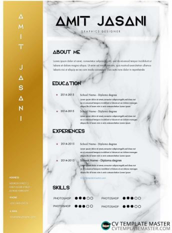 Elite CV template with a gold first column and marble background