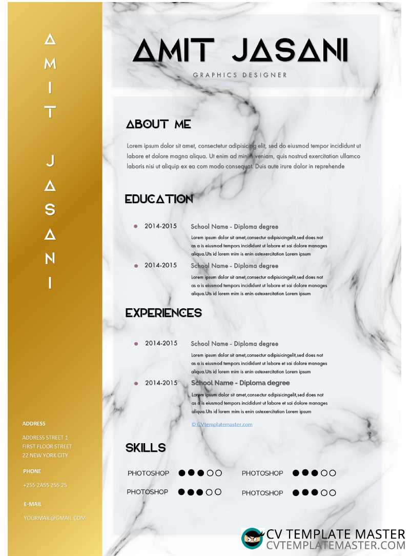 u0026 39 elite u0026 39  cv template with a gold first column and marble