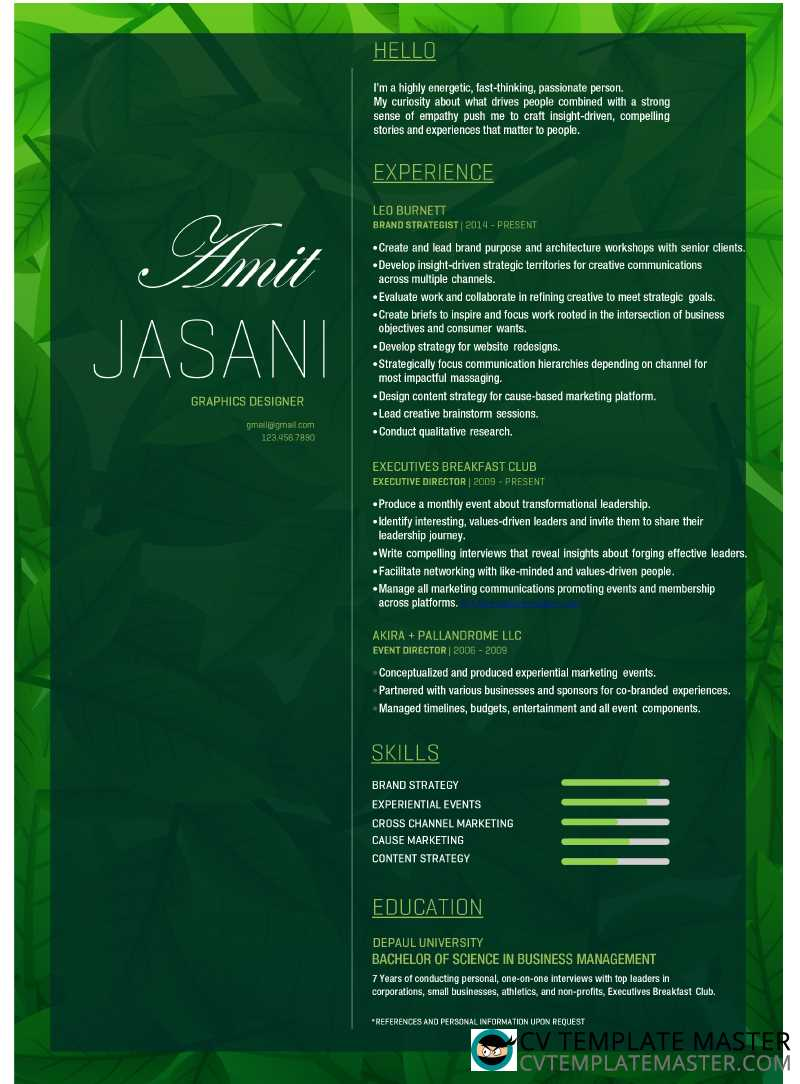 Free download: lush foliage Word CV template