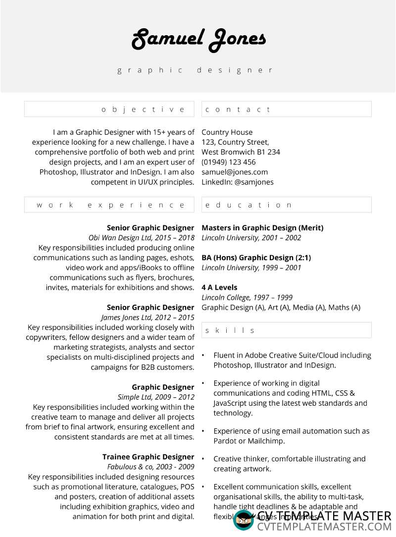Centred focus free CV template in MS Word