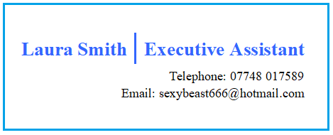 Example Email address on CV