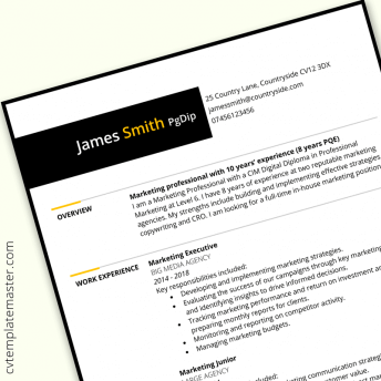 Marketing CV example: free template download in Microsoft Word