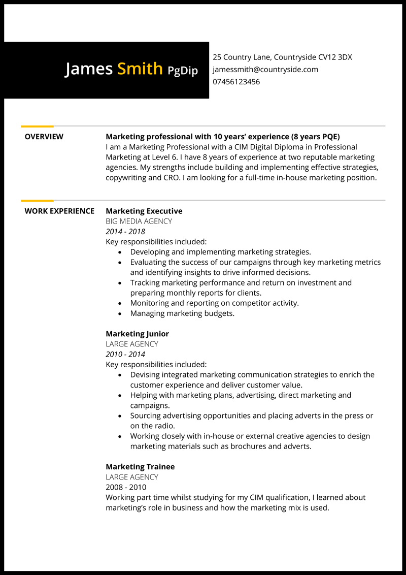 Marketing CV example - page 1