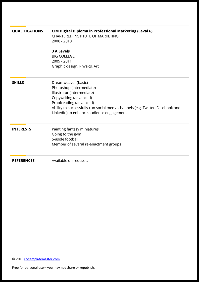 Marketing CV example - page 2