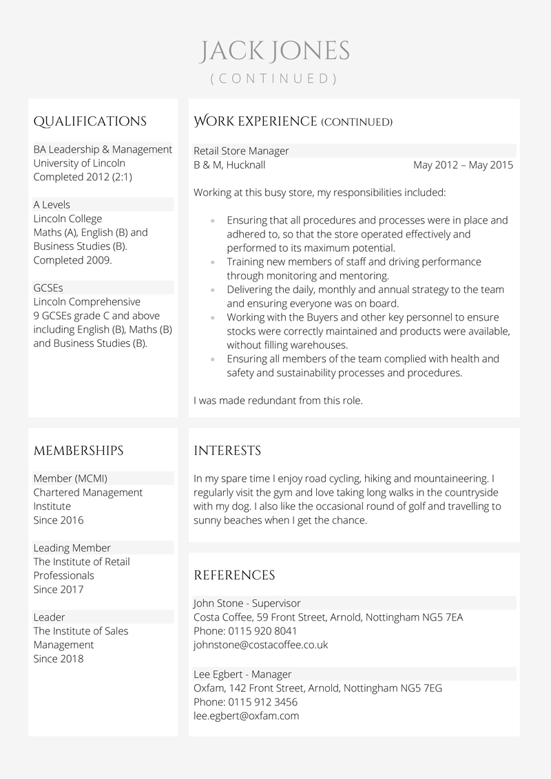 Retail manager CV template - page 2