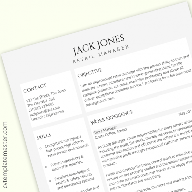 Retail manager CV template – free UK example in Word