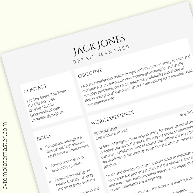 Retail Manager Cv Template Free Uk Example In Word