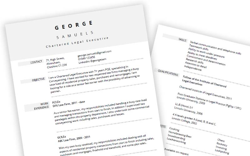 smart free cv template  ms word format  with soft grey dividers