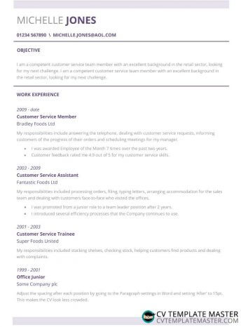 Customer service CV example: subtle CV template with lilac/purple highlights and neat dividers