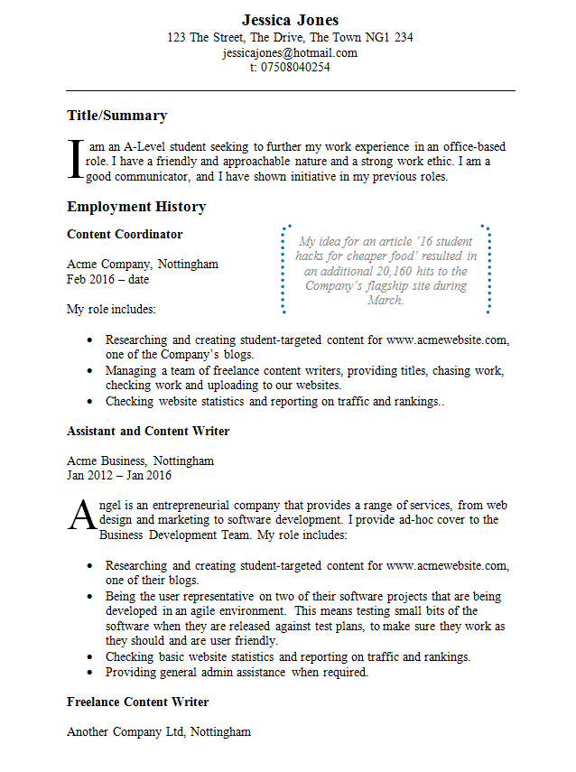 Example of CV writing