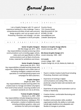 Graphic design CV : 'Centred focus' free template in MS Word