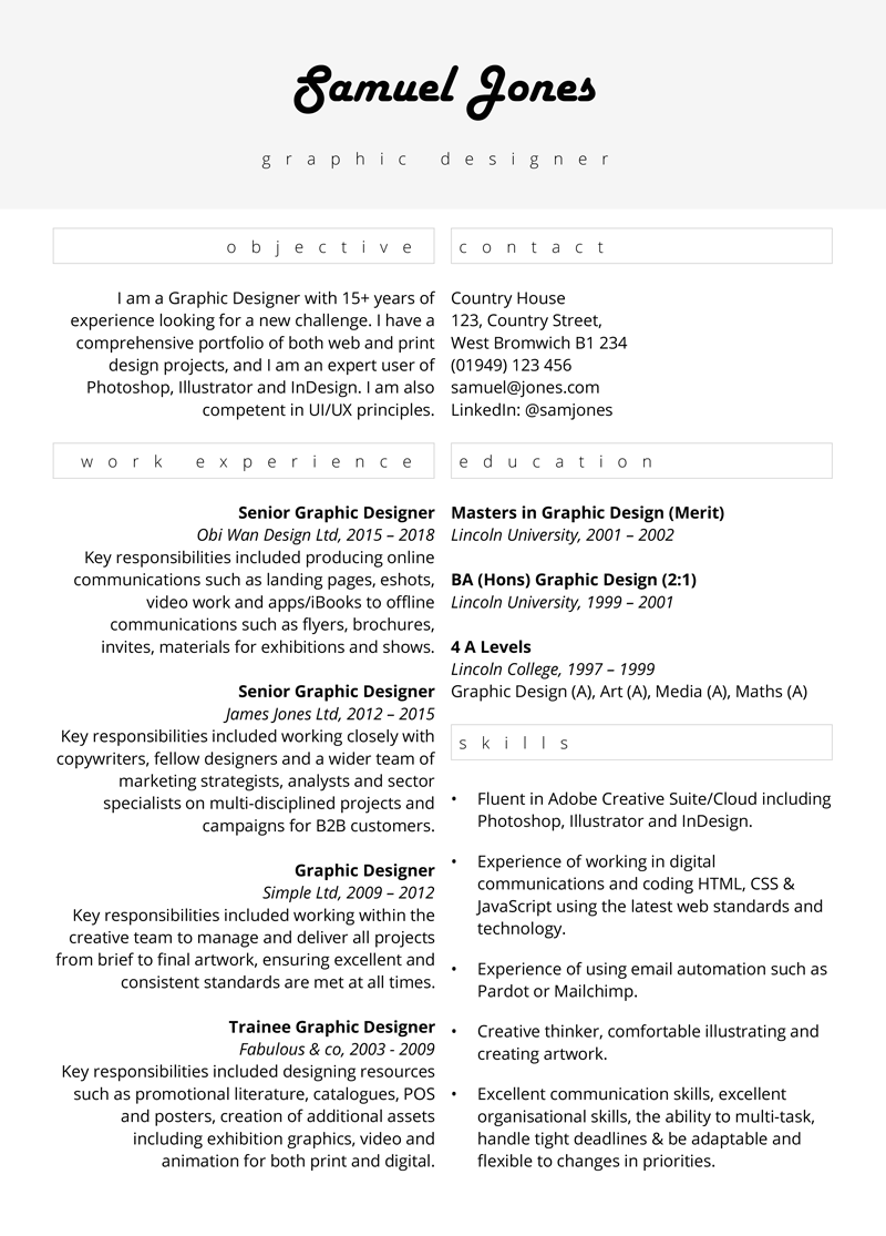 Graphic design CV - page one