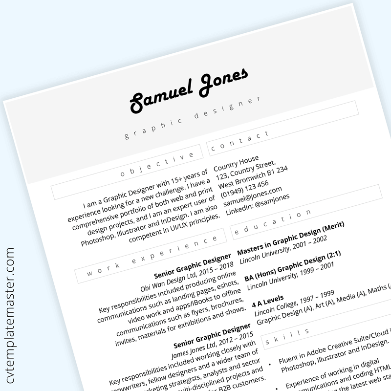 Graphic design CV template