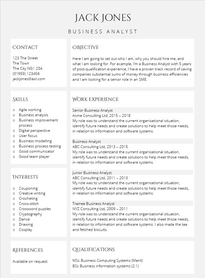 Highlights CV template