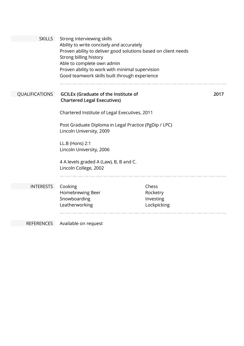 Law CV example - template page 2